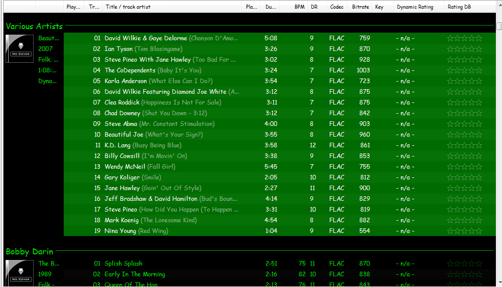 Reversed artist - track title - playlist
