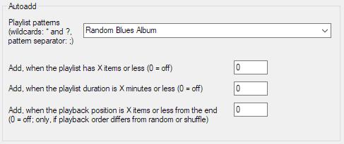 File - Preferences - Tools - Random pools - Autoadd - Random Blues Album